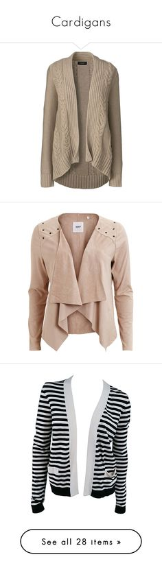 """Cardigans"" by cass-slaterporter ❤ liked on Polyvore featuring tops, cardigans, jackets, outerwear, tan, tan cardigan, petite cardigans, petite tops, tan top and cable knit cardigan"