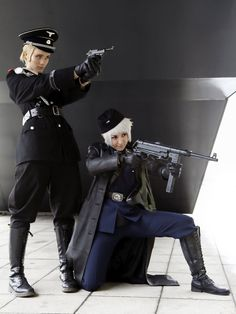 Hetalia Germany and Prussia cosplay.