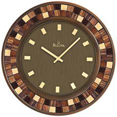 Amazon.com - Bulova Mosaica Wall Clock - Burnished Bronze Finished Case - Mosaic Inserts - Large Wall Clock