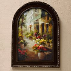 'Chemin de Fleur'... So French Country. Find this street of flowers framed in a unique arch frame at Accents of Salado. French Country Wall Decor.