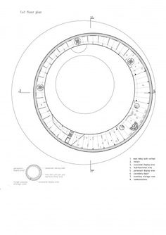 Image 11 of 18 from gallery of Museum of Contemporary Art of Vojvodina Proposal / Đordje Alfirević & Ana Čarapić. first floor plan Architecture Graphics, Architecture Plan, Space Museum, Art Museum, Round Building, Archi Design, Ground Floor Plan, Museum Of Contemporary Art, Round House