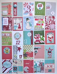 Number cards to fill page protectors in December Daily album