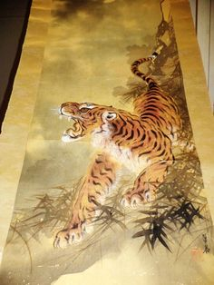 """Antique Japanese watercolor ink painting scroll fine painted on silk """"tiger roar under the moon 月下虎啸图"""" w. artist signed sealed。 Allover in great condition beside some silk torn on preserved edge & wrinkles. Japanese Watercolor, Watercolor And Ink, Japanese Tiger Art, Tiger Roaring, Geisha Art, Under The Moon, Ink Painting, Japanese Culture, Samurai"""
