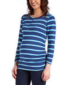 This Mom & Co. Blue & Mint Stripe Maternity Henley by Mom & Co. is perfect! #zulilyfinds