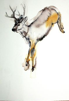 watercolor drawing! This buck is gorgeous! It looks real like it is actually jumping over something! If I could I would buy this and hang it up on my wall!!!!!