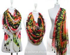 Neon Wings Scarf So Soft Lightweight Spring Summer by escherpe