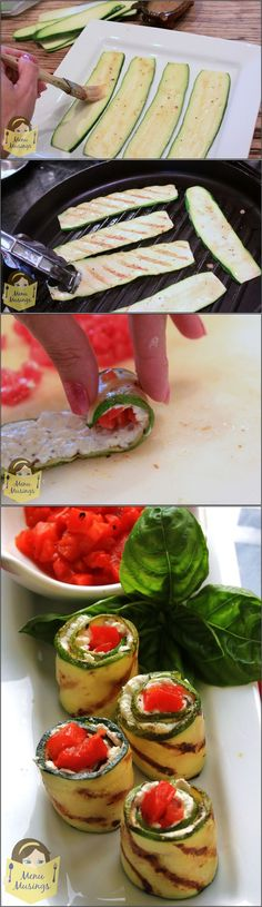 Grilled Zucchini Rolls - The herbed goat cheese and roasted red pepper ...