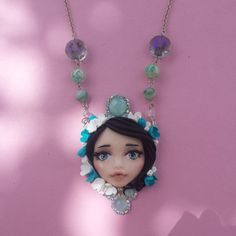Necklace with face in fimo polymer clay by Artmary2 on Etsy