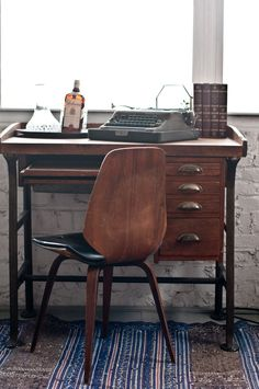 A vintage boozy work space with our industrial desk | Patina