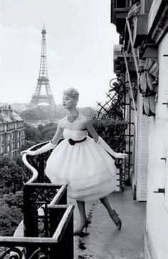 If I could live on a cloud...Model in Paris, 1958, Photo by Christian Lemaire.