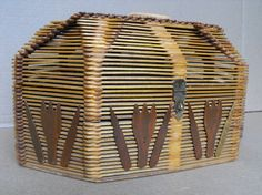 Vintage Folk Art Popsicle Stick Sewing Box or Basket by YBINUCAROL, $60.00