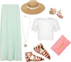 Mint long skirt, white shirt, light brown sandals, pink clutch, fedora hat