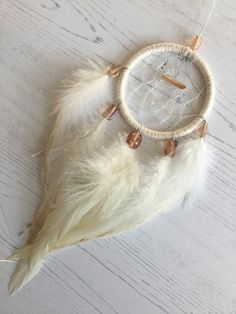 Cream Gemstone Dreamcatcher - cream dreamcatcher, small dream catcher, small dreamcatcher, car dreamcatcher, car dream catcher