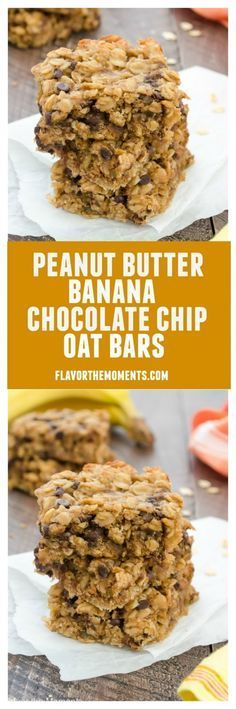 Peanut Butter Banana Chocolate Chip Oat Bars are soft and chewy oat bars packed with peanut butter, bananas, and rolled oats. They're gluten-free, made in one bowl, and are perfect for breakfast or snacks! /FlavortheMoment/