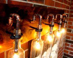 5 Clear Wine Bottle Vanity Sconce Light Fixture  litbylumiere.com