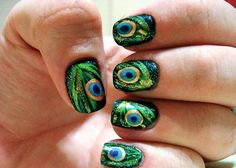Peacock Nails - i'd probably just do one nail on ea hand w/ this pattern & the rest a complimenting color