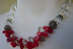 Red Coral Swarovski Crystals Glass Beads Necklace by gabrielation, $70.00