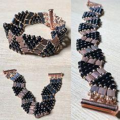 Wave bracelet with rose gold slide clasp #tilabeads #superduo #rosegold #black #sunset #wavebracelet #beads #beading #beadlove #beadweaving #beadingjewelry #bracelet #beadedbracelet #seedbeads #handmade #handmadejewelry