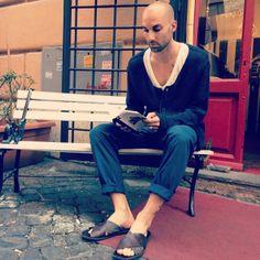 #cardigan#yohjiyamamoto, #tshirt#rickowens, #trousers#cheapmonday, #sandals#moma