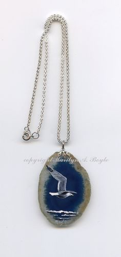 HAND PAINTED AGATE stone blue seagull flying by OriginalSandMore