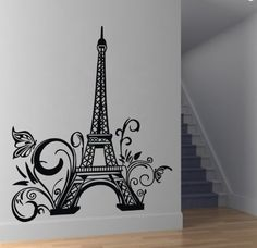 "ColorfulHall 23.6"" X 42.5"" Large Black DIY Paris Eiffel Tower Wall Decals Mural Removable Vinyl Wallpaper Decal Mural for Living Room Bed Room Stairs Study Decoration ColorfulHall http://www.amazon.com/dp/B00K73AI5W/ref=cm_sw_r_pi_dp_JjM0ub17XNM20"