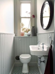 Small toilet room - Space Saving Toilet Design for Small Bathroom – Small toilet room Small Downstairs Toilet, Small Toilet Room, Downstairs Cloakroom, Small Toilet Decor, Toilet Room Decor, Bathroom Design Small, Bathroom Interior Design, Modern Bathroom, Small Bathrooms