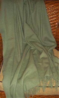 Vintage Ralph Lauren Wool & Cashmere Sage Green Throw Blanket Fringe Trimmed EUC #RalphLauren #Traditional