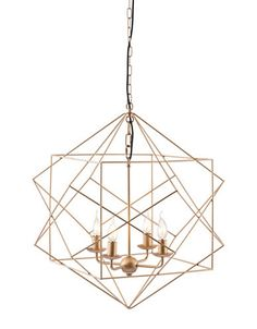 Penta Ceiling Lamp Gold - Zuo Modern Penta ceiling lamp is sophisticated geometric perfection; as slim gold finished metal rods continous wrap to create a an elegant chandelier with four single candelabra lights. Bulbs not included, Bulb sold sep Gold Ceiling, Metal Ceiling, Ceiling Chandelier, Gold Chandelier, Gold Pendant, Ceiling Lights, Wire Pendant, Pendant Lights, Classic Ceiling