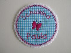 Aufnäher - ♥Aufnäher Schulkind Schmetterling♥Wunschname - ein Designerstück von Sweet-and-Sticky bei DaWanda