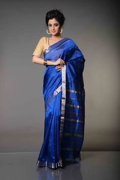 Brindavani Plain Bodied Royale Blue Mangalgiri Silk Cotton Saree : Plain Royale Blue body embellished with unadorned silver border, an eternal favorite combination of the nobility, Plain Bodied Royale Blue Mangalgiri Silk Cottonis awe inspiring. Unlike the Mangalgiri sarees in looks but very much like them in feel and comfort, this Mangalgiri Silk Cotton Saree is resplendent and gorgeous.