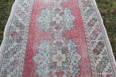 Vintage Turkish Pink Runner Rug Handmade by CappadociaCarpetRugs