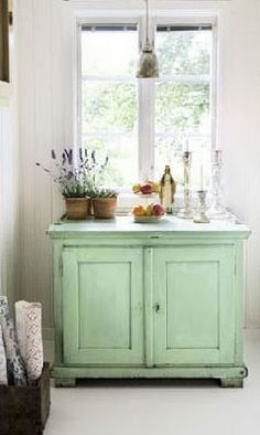 I love the color of this cottage style cabinet! A fun little pop of color to brighten up a corner of the house. Furniture, House Design, Shabby Chic, House, Interior, Interior Inspiration, Home, Green Cabinets, Home Deco