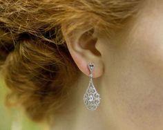 Wedding Earrings - Drop Style Filigree And Crystal Earrings, Halo Pearl Earrings Wedding, Filigree Earrings, Bridal Earrings, Crystal Earrings, Statement Earrings, Diamond Earrings, Stud Earrings, Luxury Wedding, Ear Piercings