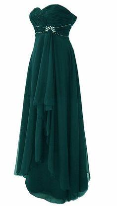 Chiffon Abendkleid / Ballkleid Festkleid mit Strass Steinen Lola Petrol (54)