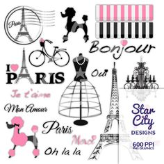 Paris Clip Art Digital 600 ppi .PNG Graphics  This digital scrapbook package includes 19 high resolution images- PNG files and 1 -8.5 x 11 inch