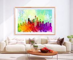 XL Poster washington City Skyline Art Abstract Print Photo Paper Watercolor Wall Decor Home (frame is not included) FREE Shipping USA !!!