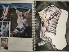 Sketchbook page exploring meat by Seamus O'Dare