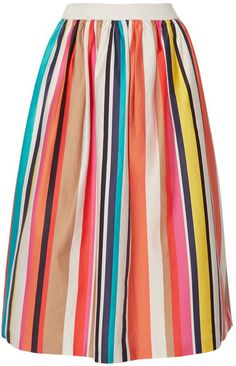 Please click on the picture to go to the detail page. Alice + Olivia - Nikola Striped Stretch-cotton Poplin Midi Skirt - Ivory