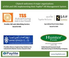 Citytech has signed 4 major deals with KSA-based business majors - TSS Advertising, Marine Services Co Ltd and Sumou Holding. Another deal with a UAE-based gourmet snack manufacturing and distributing company, Hunter Foods was also signed. Visit https://www.prlog.org/12569918-four-major-deals-signed-by-organizations-of-ksa-uae-for-paylite-hrms.html