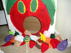 Very Hungry Caterpillar bean bag toss  #BeanBags  | Bean bags: I cut and sewed felt to look like the foods, then filled the bags with lentels #veryhungrycaterpillar
