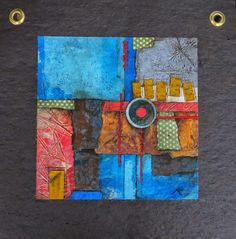 Collage art of Laura Lein-Svencner: Last of the 6 Tar paper art piece and some little red roof's to go please....