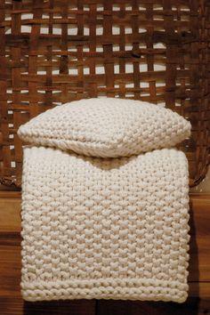 Claudia Barbari Hand Knit Throw in Winter White. Perfect Winter Throw.