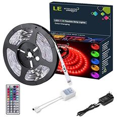 LE Flexible RGB LED Light Strip Kit Color Changing 150 Units 5050 LEDs NonWaterproof Remote Controller and Power Adaptor Included LED Tape Pack of *** Read more at the image link. (This is an affiliate link and I receive a commission for the sales) 12v Led Strip Lights, Led Light Strips, Led String Lights, Le Lighting, Strip Lighting, Accent Lighting, Color Changing Rope Lights, Light Fixtures Bedroom Ceiling, Flexible Led Light