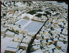 Davos Platz, Eislauf. Com_FC28-0015-004 Davos, Aerial View, Paris Skyline, City Photo, Snow, Travel, Ice Skating, Trips, Viajes