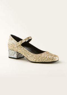 Saint Laurent Pumps :: Saint Laurent Babies 40 Mary Jane shoes in gold and silver metallic glitter fabric | Montaigne Market