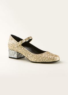 Saint Laurent Pumps :: Saint Laurent Babies 40 Mary Jane shoes in gold and silver metallic glitter fabric   Montaigne Market