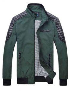 Áo khoác nam kaki phối da màu xanh rêu - A8283