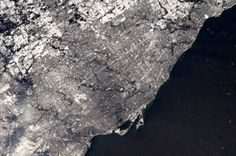 Toronto in snow, from International Space Station - Chris Hadfield /NASA Chris Hadfield, Space Photos, Happy Trails, Space Station, Aerial View, Toronto, Cool Photos, Canada, The Incredibles