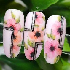 Nail Polish Art, Gel Nail Art, Acrylic Nails, Flower Nail Designs, Nail Art Designs, Feather Nails, Water Color Nails, Seasonal Nails, Nail Art Blog
