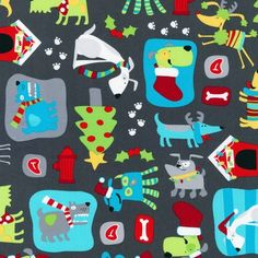 I love making my kids jammies each year for Christmas and I think we may have found our fabric for this year!! So cute and funky! Santa's Paws in Gray, $9.75/yd